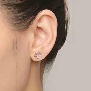 Crystal Rose Gold Paw Print Heart Earrings NEW